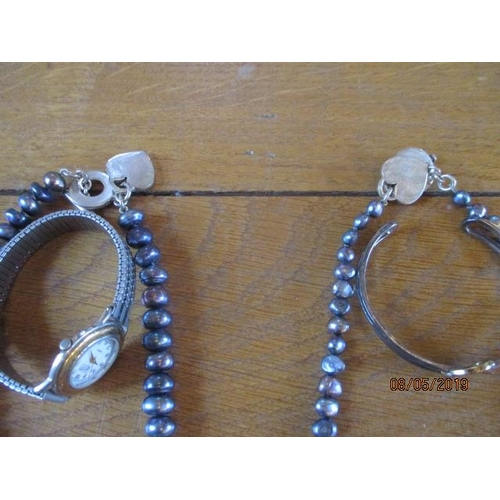 43 - Two Jamaican necklaces with Jamaican silver clasps, together with a quantity of white metal costume ...