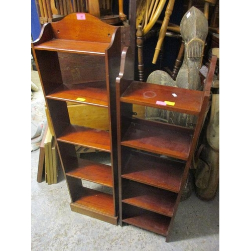 47 - Two small mahogany five tier bookcases...