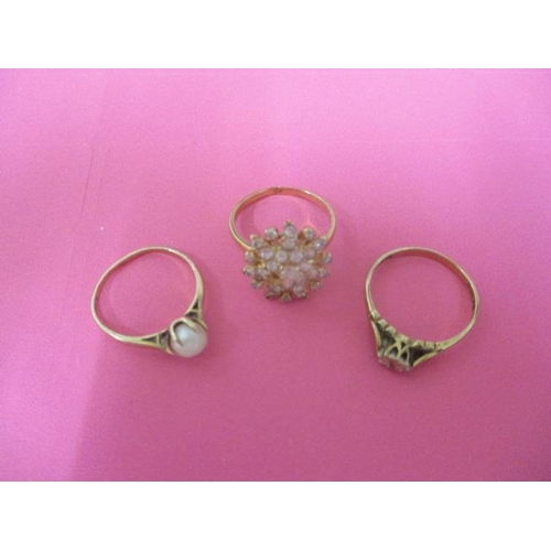 5 - Two 9ct gold rings and an 18ct gold ring...