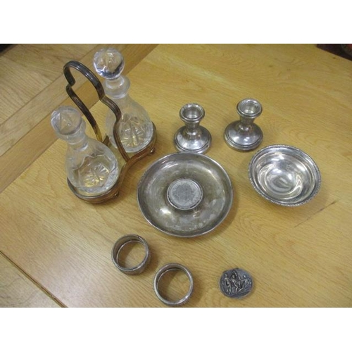 6 - A pair of dwarf silver candlesticks, a silver dish with central mounted 1922 silver Liberty coin, mi...