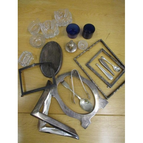7 - A quantity of silver items to include silver photo frames A/F, mixed glass salts and a pair of silve...