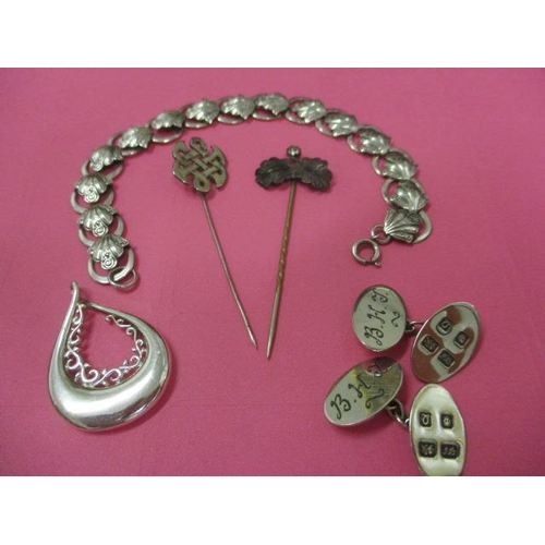 8 - Mixed costume jewellery to include a silver bracelet, a pair of silver cufflinks and two hat pins, t...