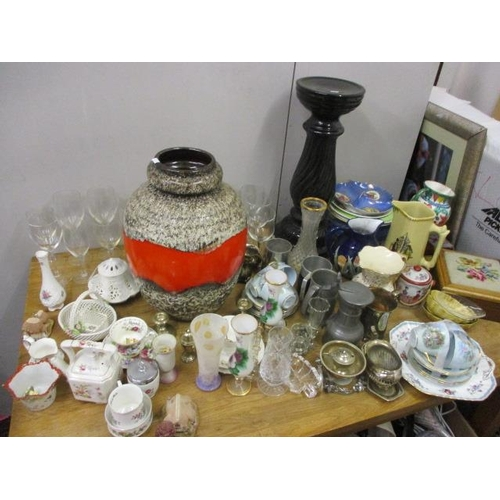28 - A mixed lot to include a large West German vase, a jardiniere stand, pewter and other items...