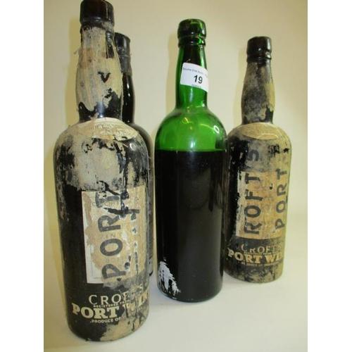 19 - Four bottles of 1945 vintage port, Crofts, A/F...