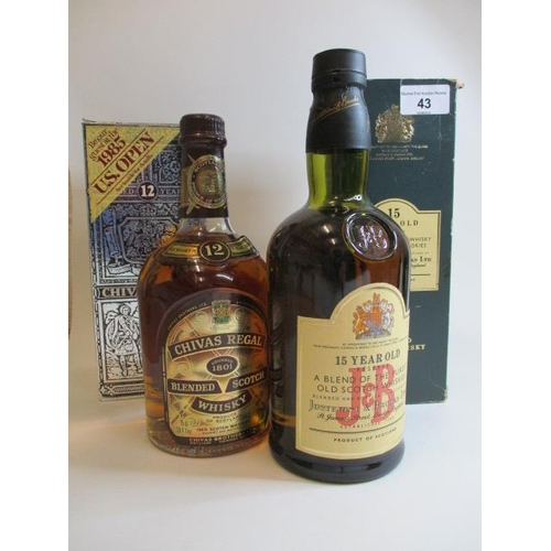 43 - Two bottles of whisky to include Chivas Regal 75cl and J & B 15 year old reserve, 75cl...