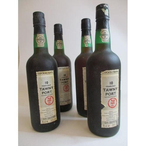 45 - Four bottles of Cockburns 10 year old Tawny Port, 70cl...