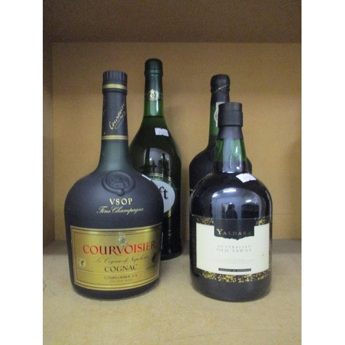 11 - A bottle of Courvoisier cognac 1lt and a bottle of Croft sherry, Old Tawny Port and one bottle of Sa...