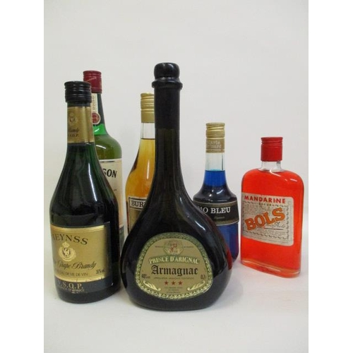 13 - Six bottles to include Jameson Whiskey, Armagnac, Reynss brand and liqueurs...
