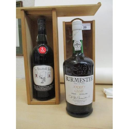 20 - A single bottle of Burmaster White Jockey Club Port, 75cl and a single bottle of Taylors late bottle...