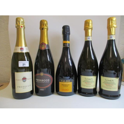 21 - Five bottles of Prosecco, mixed manufactures...