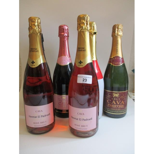 23 - Nine mixed bottles including Rose Brut...