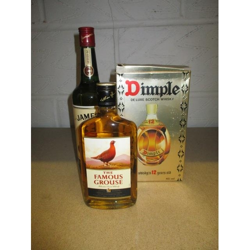 28 - A bottle of boxed Dimple Whisky, 75cl and a bottle of The Famous Grouse, 35cl along with a bottle of...