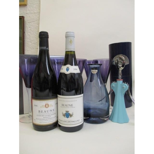 38 - Six coloured wine glasses, boxed a Dartington blue decanter, no stopper, two bottles of Beaune 2006 ...