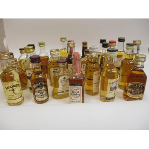 7 - Twenty six miniature Scotch Whisky to include Bells, Jacobite and Grants...
