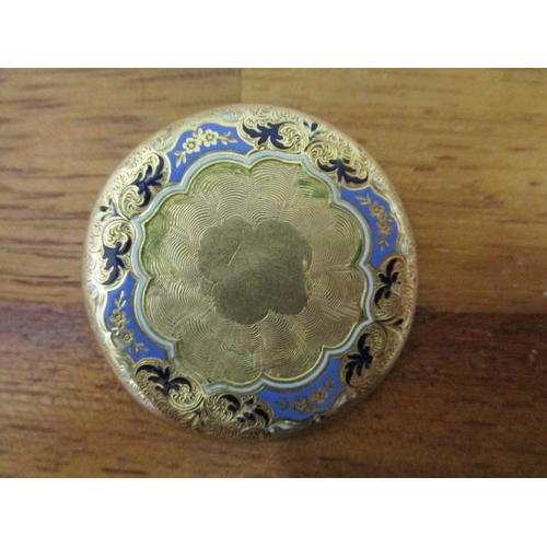 10 - An 18ct yellow gold and guilloche enamelled brooch with engraved, floral decoration, makers mark JLP...