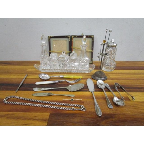 27 - A mixed lot of silver, silver plate, glass and jewellery to include hat pins in a stand, a silver wa...