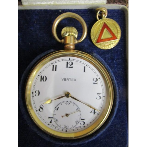 33 - A Vertex gold plated pocket watch with 15 jewel movement, white enamel Arabic dial, off set seconds ...