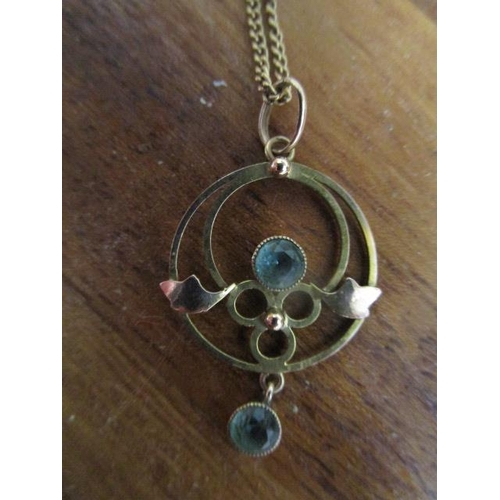 45 - A 9ct gold Arts & Crafts pendant set with two aquamarine stones on a yellow chain necklace, a 9ct go...