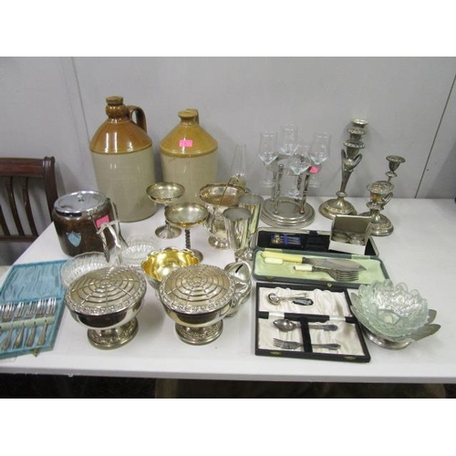 5 - A quantity of mixed silver plate, a wooden biscuit barrel and two stoneware jars...