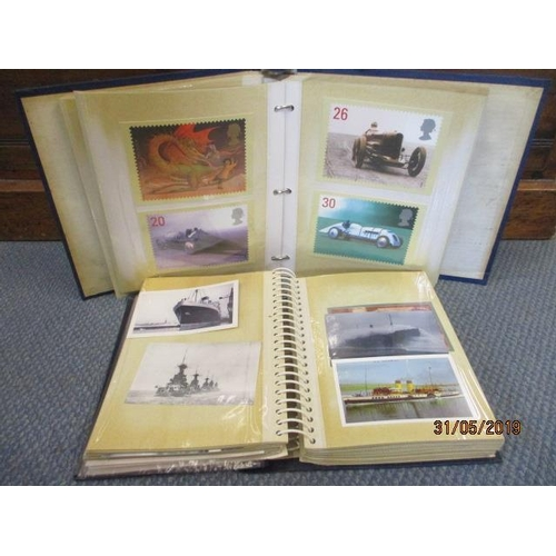 53 - Two albums containing postal stamps, travel related postcards and others...