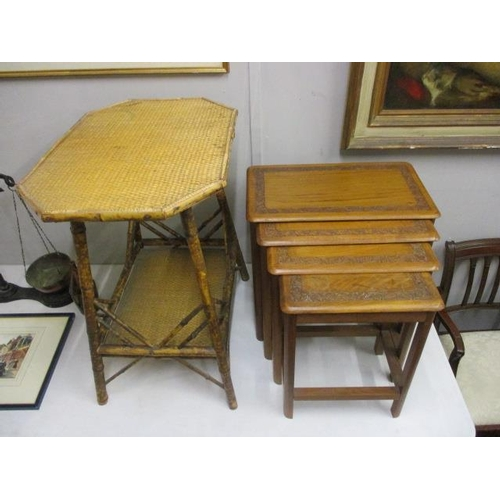 36 - A late Victorian bamboo and rattan table and a nesting set of four carved teak occasional tables...