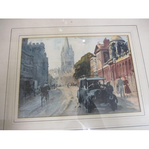 37 - A mixed lot to include a view of Oxford high street, watercolour, a wrought and cast iron scales and...