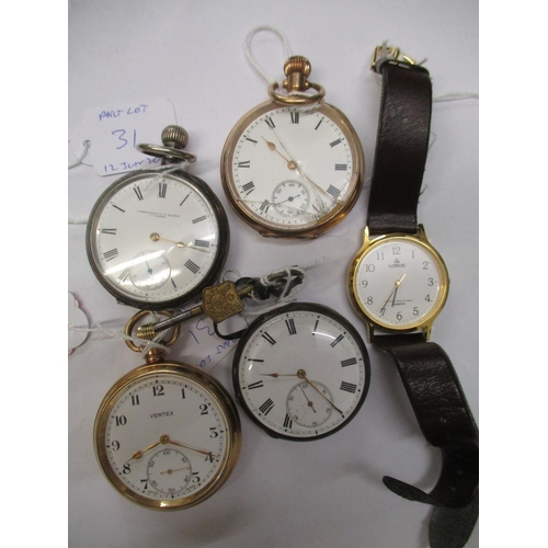 31 - Four pocket watches, a silver cased, a continental silver cased and a gold plated cased example and ...