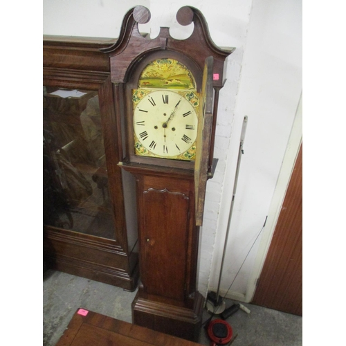 55 - A 19th century oak longcase clock with a painted dial and 30hr movement...