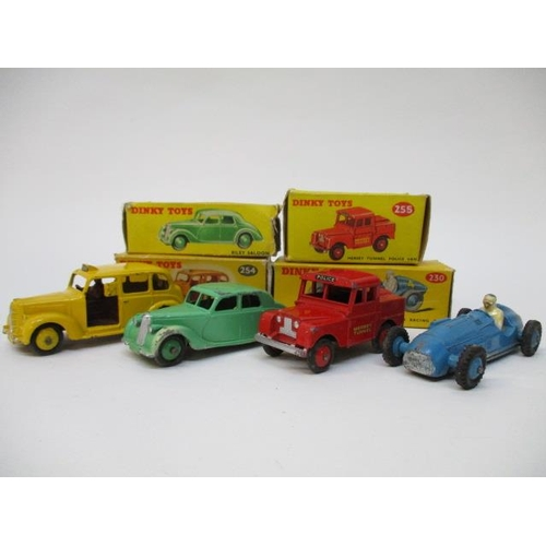 42 - Dinky Toys - 230 Talbot-Lago, 158 Riley Saloon, 255 Mersey Tunnel Police Van, 254 Austin Taxi, all b...