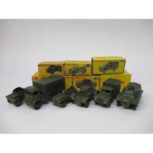 43 - Dinky Toys - 673 Scout Car, 623 Army Covered Wagon, 674 Austin Champ Wagon, 670 Armoured Car Wagon, ...