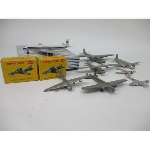 44 - Dinky Toys - 702 D H Comet Airliner, 734 Supermarine Swift Fighter, 736 Hawker Hunter Fighter, all b...