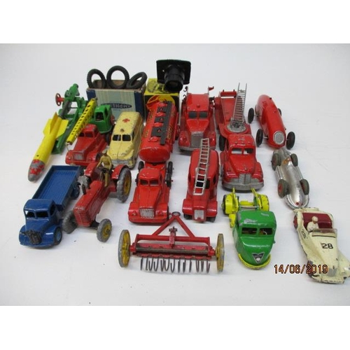 46 - Dinky Toys - 23E Speed of Wind racing car, 108 MG Midget, 250 Streamlined Fire Engine, and others to...