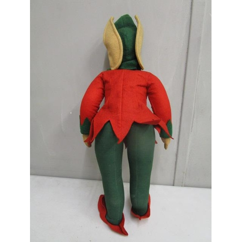 36 - A mid 20th century Chad Valley felt toy in the form of a pixie dressed in a red jacket and slippers ...