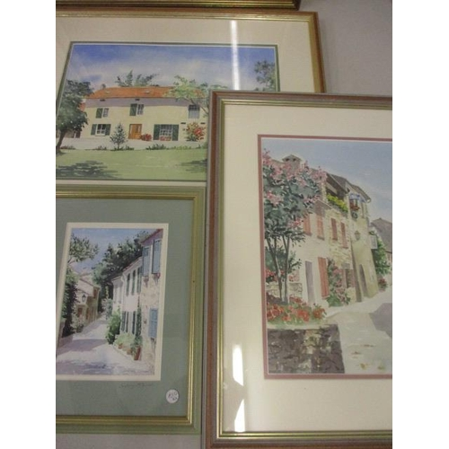 43 - Lesley Oliver - a Mediterranean villa, two signed watercolours, together with a print by the same ar...