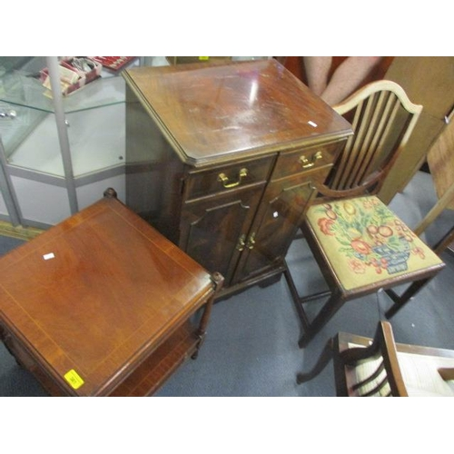 128 - A reproduction mahogany TV cabinet, a two tier table and a 19th century dining chair...