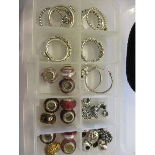 103 - Pandora beads, earrings, various rings, a Casio and a Lorus watch...