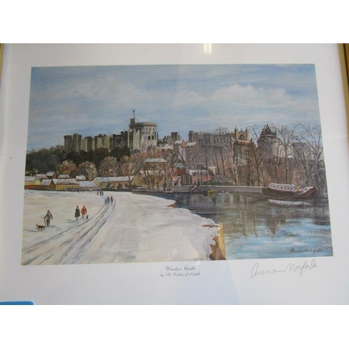 129 - Duchess Anne of Norfolk, signed print of Windsor Castle, and 'Harvest Time in the Chilterns', along ...