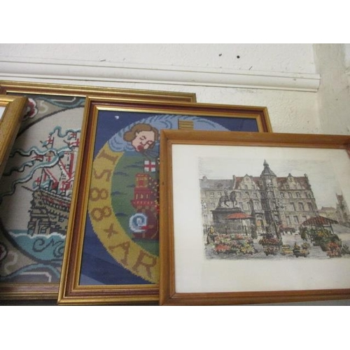 19 - A mixed lot of artwork to include an Egyptian papyrus, engravings and two cross stitch pictures...