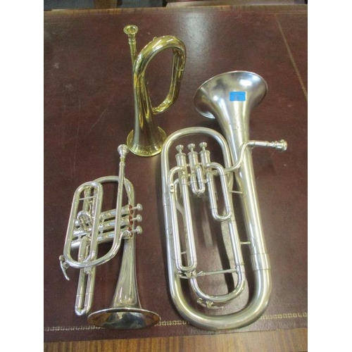 20 - A mixed lot of wind instruments to include a Boosey & Hawkes 3-valve euphonium, a brass bugle and a ...