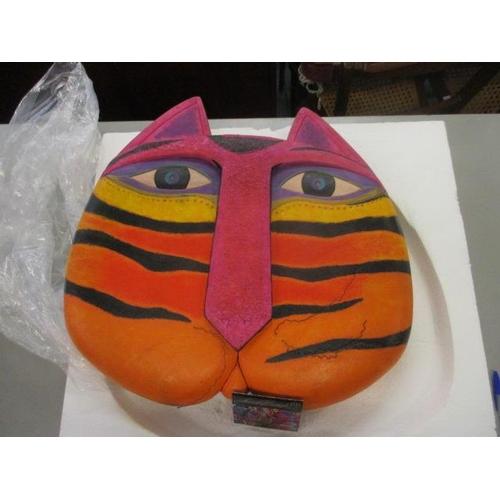 25 - A Laurel Burch design studio plaster cat's head in bright colours, boxed...