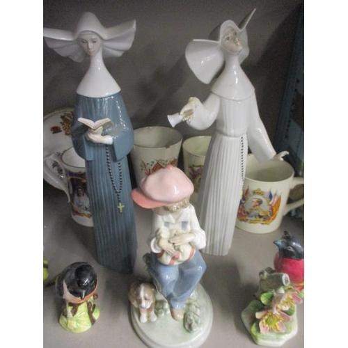 27 - Ceramics and glassware to include Lladro figures A/F, Beswick birds, commemorative ceramics, blue an...