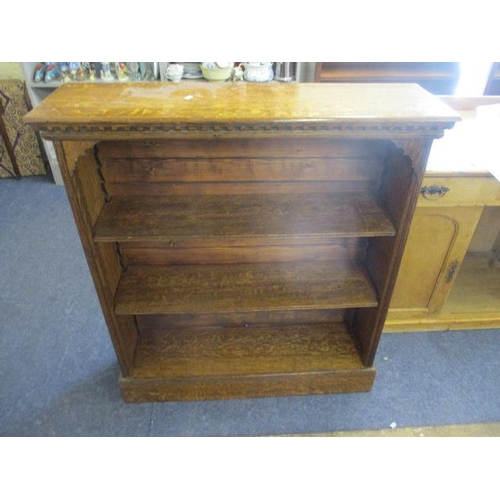 30 - A late Victorian pollard oak bookcase with pine back, 42