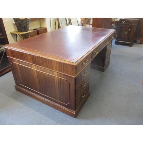 32 - A Sapele finished, twin pedestal partners desk, circa 1900...