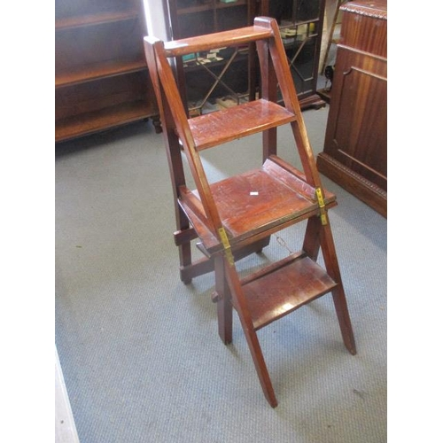 33 - A Victorian set of mahogany library steps, converting into a chair...