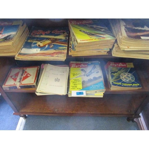 34 - Printed ephemera to include Boys Own magazines from 1909 and a vintage Monopoly set with cardboard c...