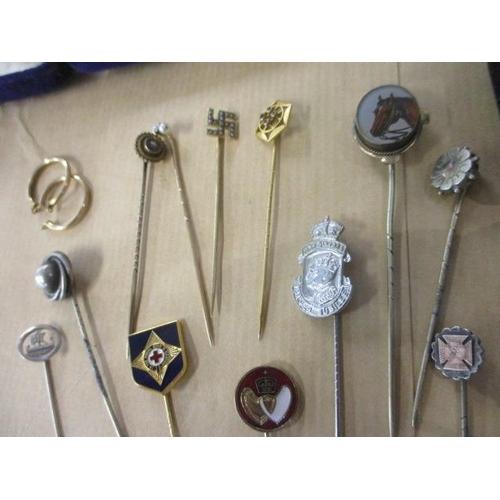 37 - Gold, silver and other stick pins and jewellery to include a stick pin set with a diamond and pearls...