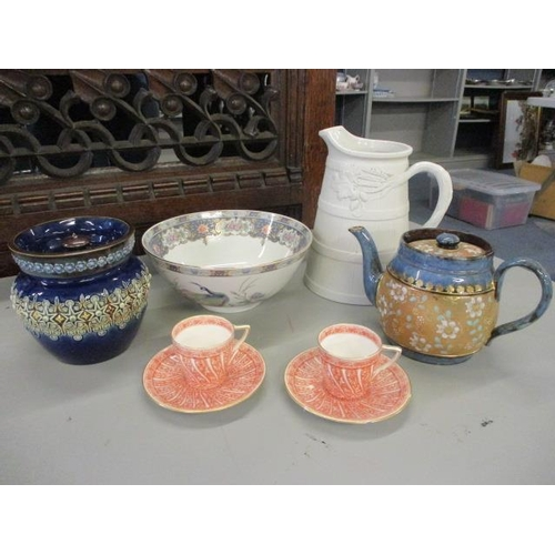 8 - A mixed lot to include a Royal Doulton teapot and Copeland cups and saucers...