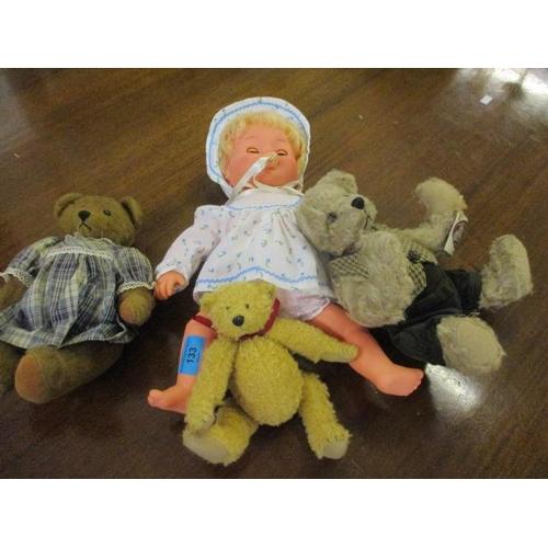 133 - Three collectors teddy bears and a retro Tiny Tears doll...