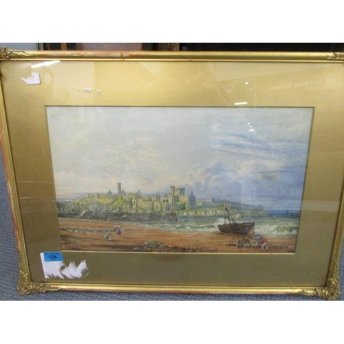 134 - S Ashton - Peel Castle, Isle of Man, watercolour, signed lower left corner and dated 1896, 11 1/4