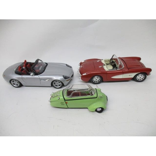 27 - Two Burago cars to include Chevrolet Corvette 1957, BMW Z8, together with a Revel AG 1996...